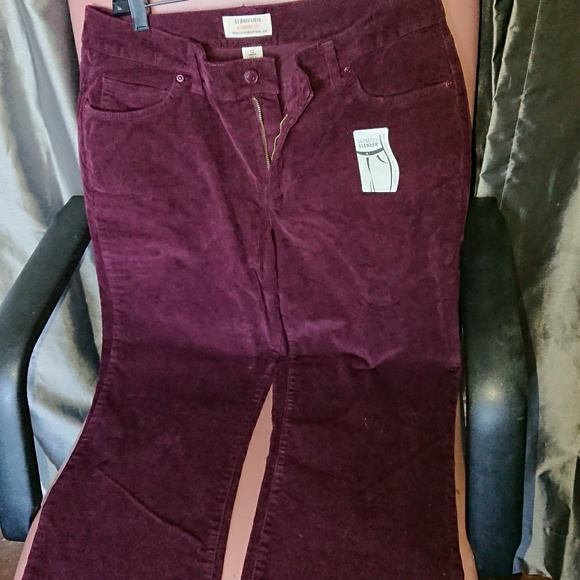 NEW women pants 12 maroon corduroy straight slende